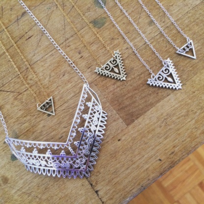 Triangle Eternal Youth Necklace, Arrow Goddess Necklace, Mother Earth Henna Necklace