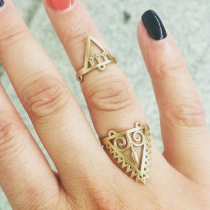 Arrow Goddess Adjustable Ring, Triangle Goddess Adjustable Midi Ring
