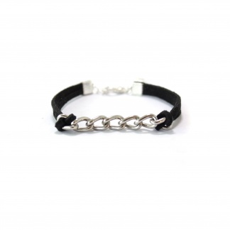 Single Curb Chain Leather Bracelet