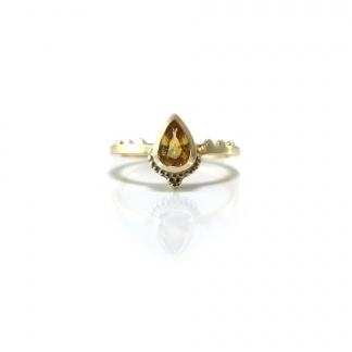 Beaded Pear Yellow Sapphire Ring