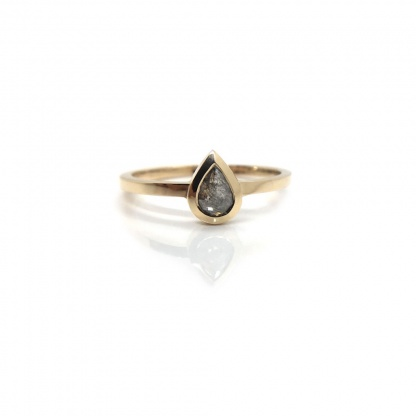Pear Grey Solitaire Ring